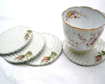 Shabby chic coasters ,Home Ecor, Lace  Coaster set, Country French decor, Party tea set, Shabby chic coasters, Embroidery roses.