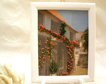 Embroidery  picture,  Home Decor, Shabby chic Decor, Wall art,  Country picture,  Wood landscape frame,