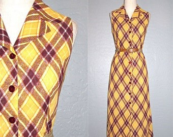 Vintage 1970s dress golden YELLOW PLAID sleeveless maxi - M
