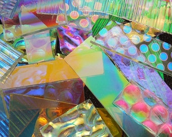 Dichroic Glass Scrap - 1/2 Pound - 96 COE - All Clear Smooth And Textures For Fused Glass Jewelry - Art Glass