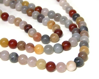 Colonial Jasper beads, 8mm round natural gemstone, Full & half strands available (581S)