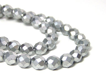 Metallic silver glass beads, matte finish 8mm faceted round, full & half strands available   (675G)