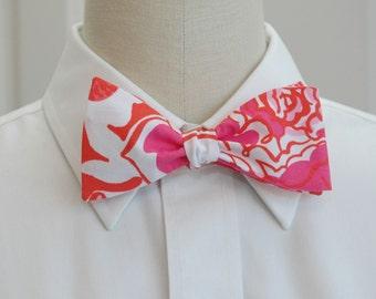 Lilly Bow Tie in pink and orange tango orange tango (self-tie)