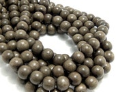 Graywood, Round, 8mm, Smooth, Small, Natural Wood Beads, 16 Inch Strand - ID 1386