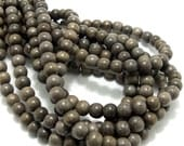 Graywood, 6mm - 7mm, Round, Smooth, Natural Wood Beads, Small, Full strand, 72pcs - ID 1387