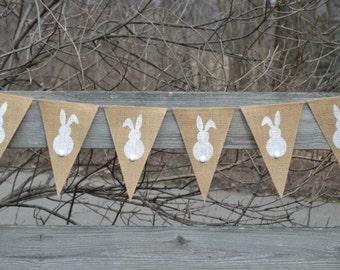 Bunny Banner  ..  Easter Banner  ..  Rabbit  ..  Easter Bunnies  ..  Burlap Banner