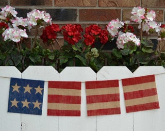 Fourth of July banner   ..  Patriotic  ..  Flag   ..  Burlap  ..  Banner