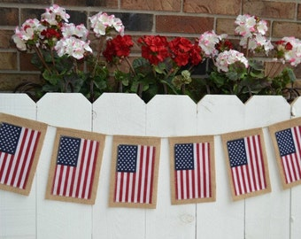 Patriotic flag banner - Fourth of July flag decoration - USA banner - 4th of July decoration