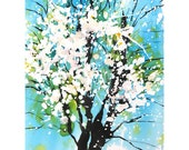 Grid series No.4 Spring blossoms  2 of  2, original painting with watercolor and sumi ink