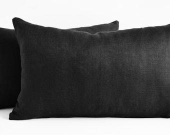 Sukan / Black Linen Pillow Covers - black euro pillow shams - black decorative pillow sham ...