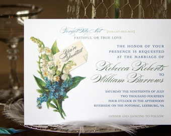 Vintage Wedding Invitations with Lily of the Valley and Forget Me Not - Print at Home Template