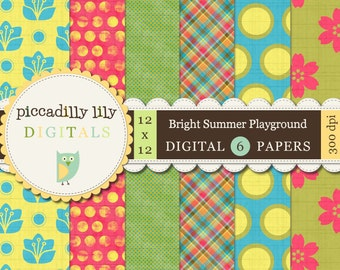 Instant Download - Bright Summer Playground -- 12x12 Digital Printable Paper Pack -- Buy 3 Digital Paper Packs Get 1 FREE