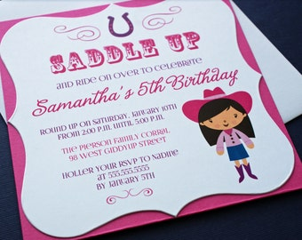 PRINTED Double Layer Pink Cowgirl Girl's Birthday Party Invitations