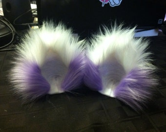 Extra Fluffy Lilac Lavender Kitty Ears with White Tips Fuzzy Cat Ear Clips