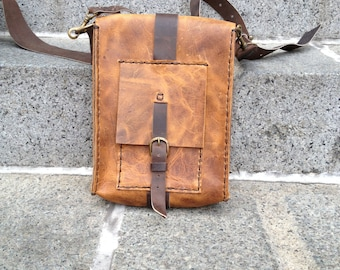 Staton messenger, handmade leather bag, iPad/tablet pocket bag, custom satchel, handmade leather bags & messengers by Aixa Sobin, bag maker