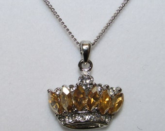 Fashion Jewelry- Fashion Crown Shape with  Light Yellow, Citrine with White Crystal Glass Pendant Rhodium Plated Necklace