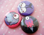Spooky Sweets  - Creepy cute desserts 1 inch pinback button set