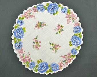 VINTAGE HANKIE, Blue Roses on White, Round, Scalloped Edge, Corded, Pink Forget Me Nots, Pocket Hankie, Excellent Condition