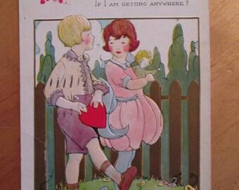 Valentine Postcard Boy and Girl -  Heart - Doll - Flowers  - 1920's Illustration