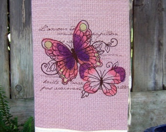 Bath Hand Towel Fringed with Butterflies