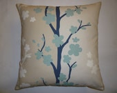 """Pillow Color choices Blue Beige Cream Tree Designer Cushion Cover Throw Scatter Pillow. ONE x 16"""" (40cm)"""