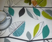 "Teal Table Runner Gray Green White Funky Cotton (54"" 137cm) 4 design choices"