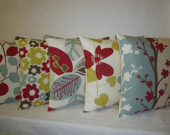 """5 x Pillow Covers Blue Red Green Designer Cushion Covers Throw Accent Scatter Pillows 16"""" (40cm)"""
