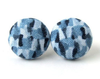 Blue stud earrings - fabric covered button earrings - royal blue stud earrings - winter earrings - cobalt dark light blue
