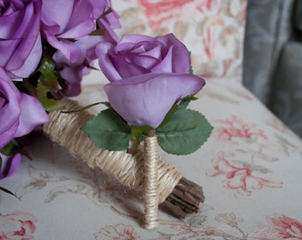 Wedding Boutonniere Rustic Lavender Rose Boutonniere