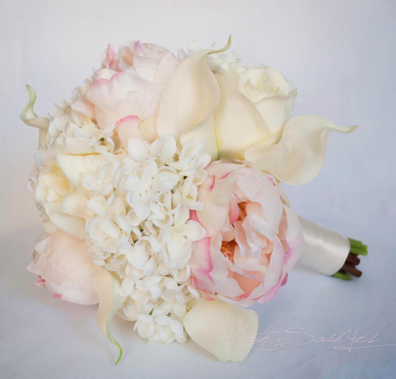 Blush Wedding Flowers: Ivory And Blush Wedding Bouquet Peony Hydrangea By KateSaidYes