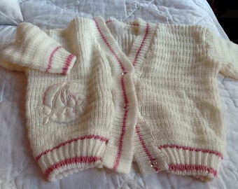 Vintage Little Girl's Knitted Cardigan Sweater With Pink Toddler Girl Pink and White Sweater Sailboat