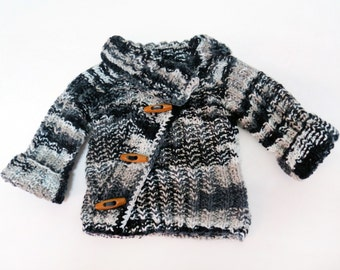 black,white,grey,asymmetric baby sweater