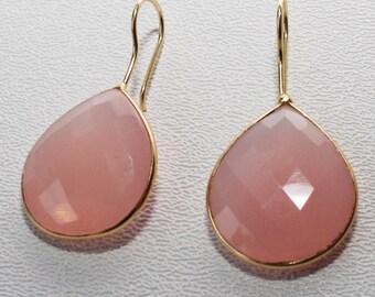 Rose Quartz Bezel set in Vermeil Earrings