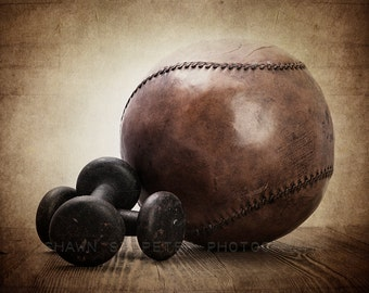 Vintage Iron Weights and Medicine Ball Photo Print, Decorating Ideas, Wall Decor, Wall Art, Rustic Decor, Man cave, Gym Decor