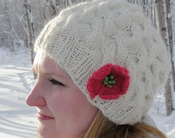 """Instant Download Knit Hat PATTERN PDF - Woman's, Girl's, Ladies, """"Sweet Nothings Hat"""", All-over cabled knitted beanie with knit flower"""