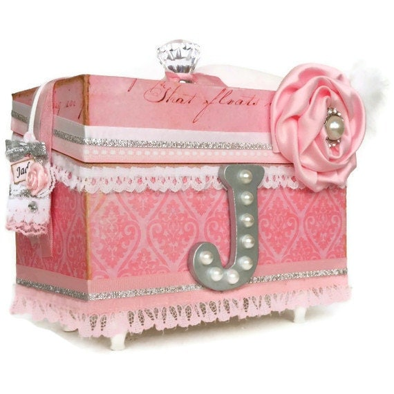 Girls personalized jewelry box shabby chic pink for Girls large jewelry box