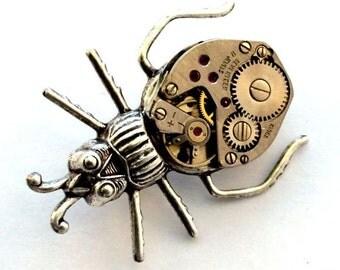 Steampunk Beetle Pin, Steampunk Brooch