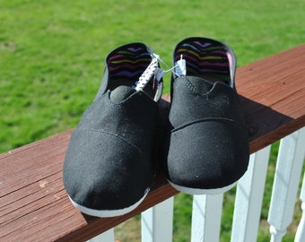 Black canvas sneakers READY for CUSTOM ORDERS, womens size 11