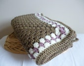 Crochet heirloom square baby blanket - girls - brown pink cream
