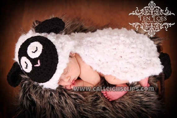 Instant Download Crochet Pattern- No 45 Fleecy The Lamb- Cuddle Cape Set  -Photography Prop