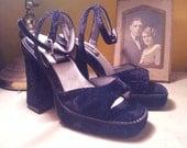 RESERVED Black Velvet Open Toe Platforms Size 8