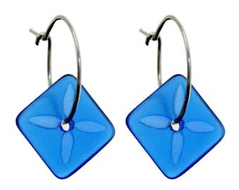 Square Tapa Earrings Blue