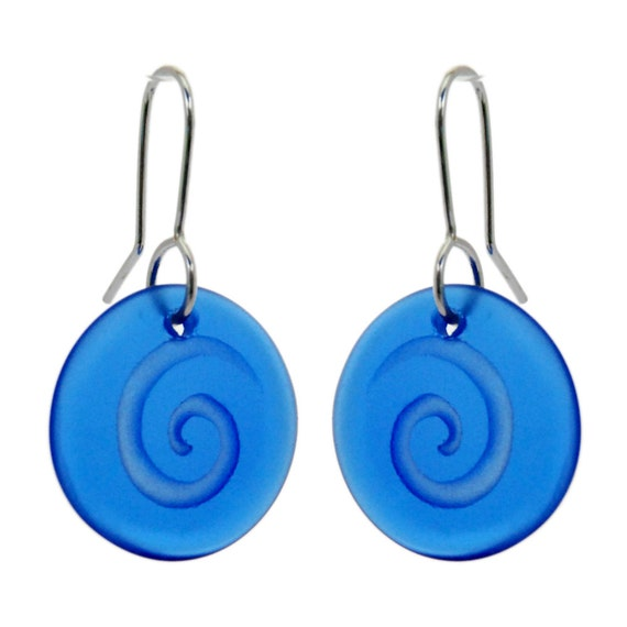 Blue Glass Spiral Discs.