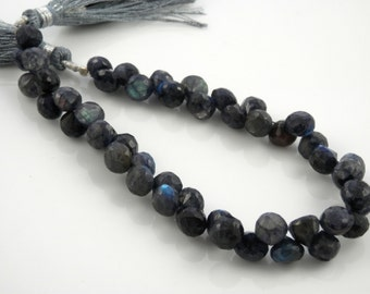 Blue labradorite faceted onion briolette beads 5-6mm set of 6