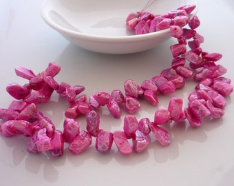 Amazing mystic coated pink ruby freeform briolettes/ shards 1/2 strand 7.75 inches