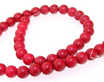 Charm 8MM Round Red Howlite Turquoise Gemstone Beads One Strand