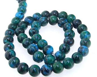 """Round Azurite Chrysocolla Jasper Round Beads Gemstone 8mm beads blue green jasper  Full Strand 15.5"""""""