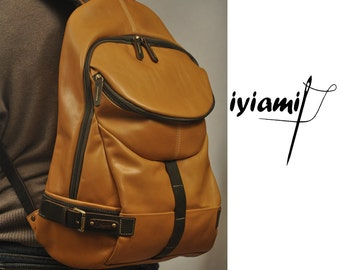 Handcrafted leather backpack, Nota in Camel   MADE TO ORDER