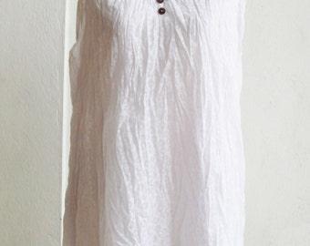 B6, Jasmine Floral Two Layers Sleeveless White Cotton Blouse, white shirt