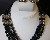 Joan Collins Would Rock These - Vintage Four Strand Necklace & Clip-On Earrings